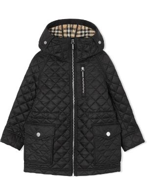 Burberry Kids Diamond Quilted Hooded Coat