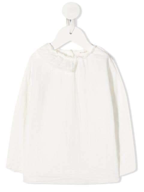Message In The Bottle long sleeve raw edge blouse
