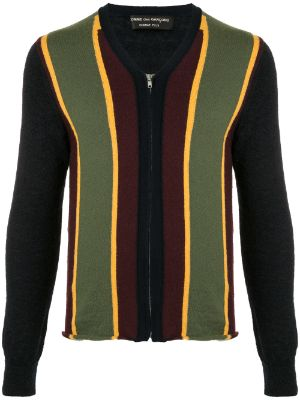 Comme Des Garçons Pre-Owned striped panel zipped cardigan
