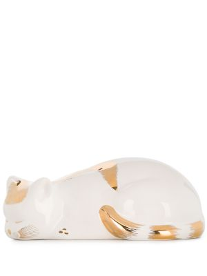Fornasetti CAT STRIATO GOLD/WH CROUCHED