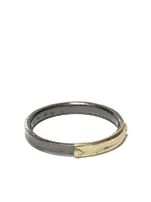 5 Octobre 14kt yellow gold and blackened silver Eki ring