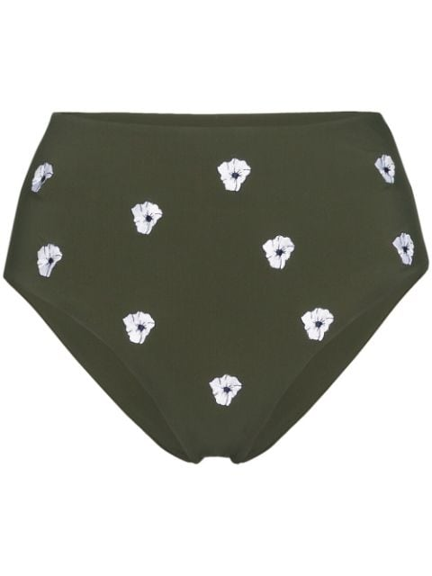 Anemone high-waisted floral-embroidered bikini bottoms
