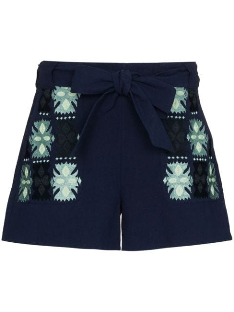 Figue Leah embroidered tie-waist shorts