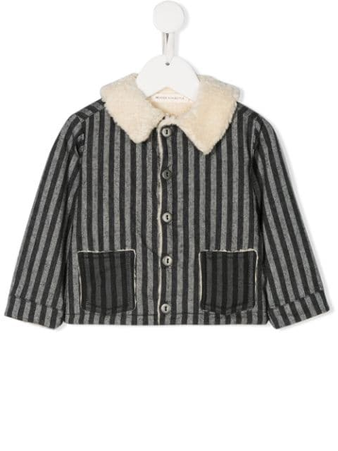Message In The Bottle contrast collar striped jacket