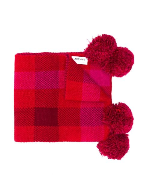Woolrich Kids check pattered pompom scarf
