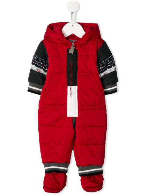 Lapin House hooded contrasting-sleeves pramsuit