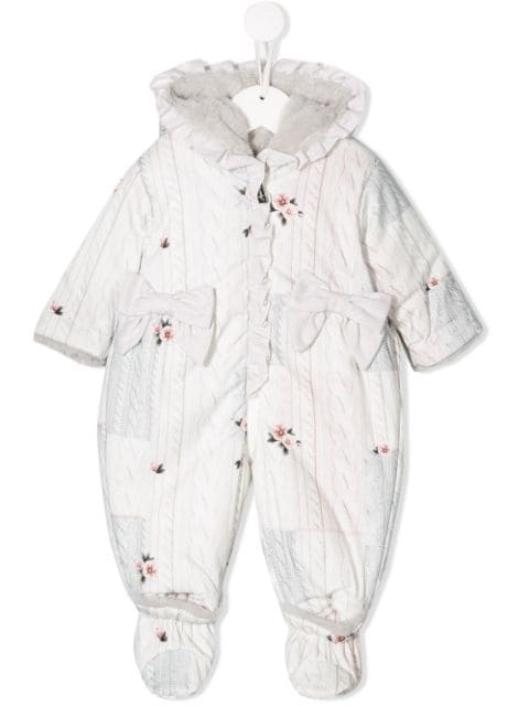 Lapin House knitted-look print snowsuit