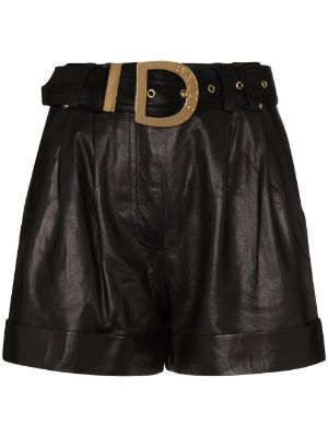 Balmain high-waisted belted leather shorts