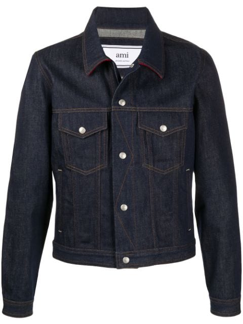 AMI denim jacket with snap buttons contrasted hems and collar