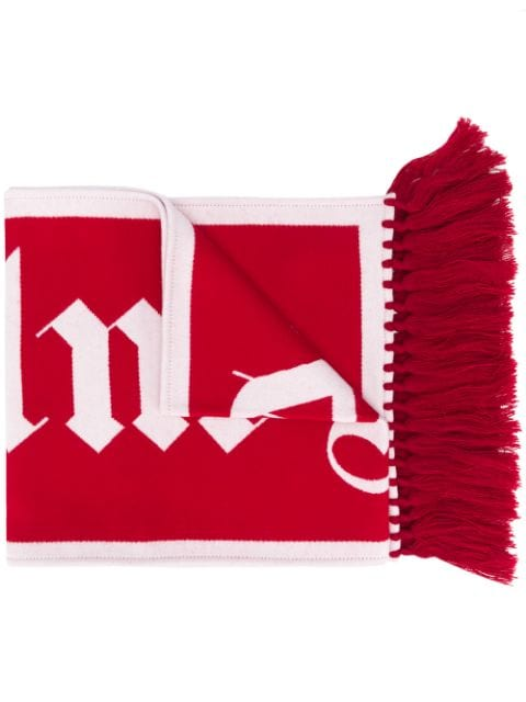 Palm Angels logo knitted scarf