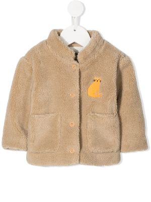Bobo Choses cat-embroidered faux-shearling jacket