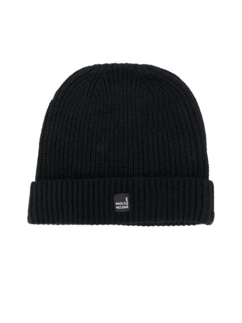 Paolo Pecora Kids TEEN ribbed-knit logo patch beanie