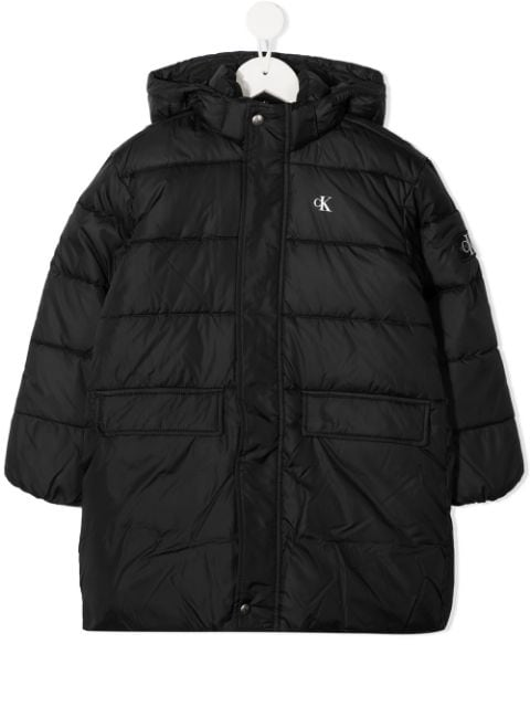 Calvin Klein Kids logo-patch quilted hooded coat
