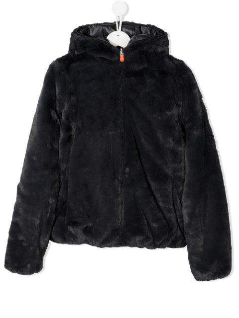 Save The Duck Kids hooded faux-fur coat