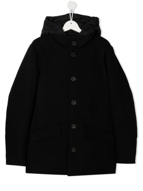 Herno Kids TEEN button-up hooded coat