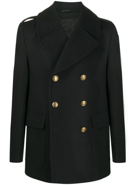 Givenchy embossed-buttons double-breasted coat
