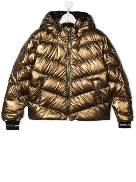 Givenchy Kids TEEN metallic quilted down coat