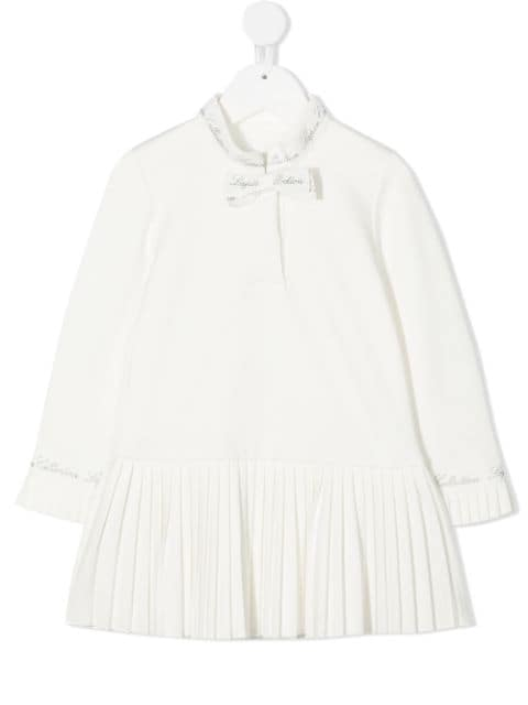 Lapin House pleated trim bow dress