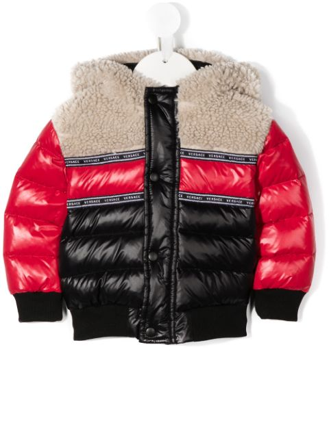 Young Versace faux shearling-panelled colour-block puffer coat