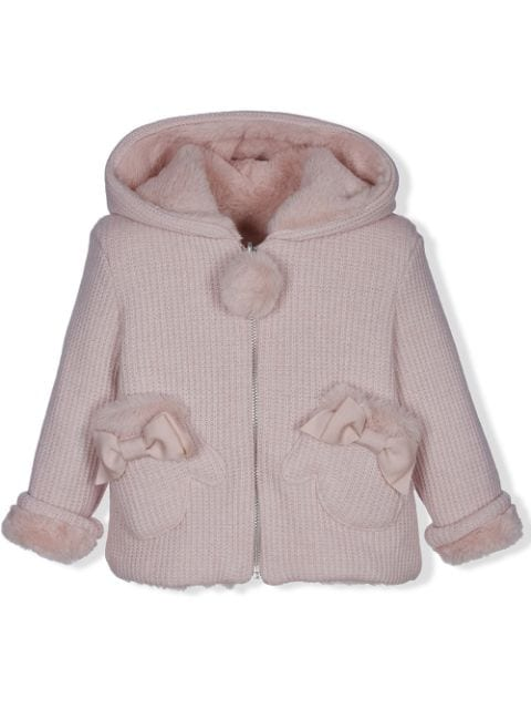 Lapin House chunky-knit bow detail jacket