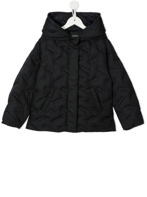 Emporio Armani Kids quilted hooded jacket