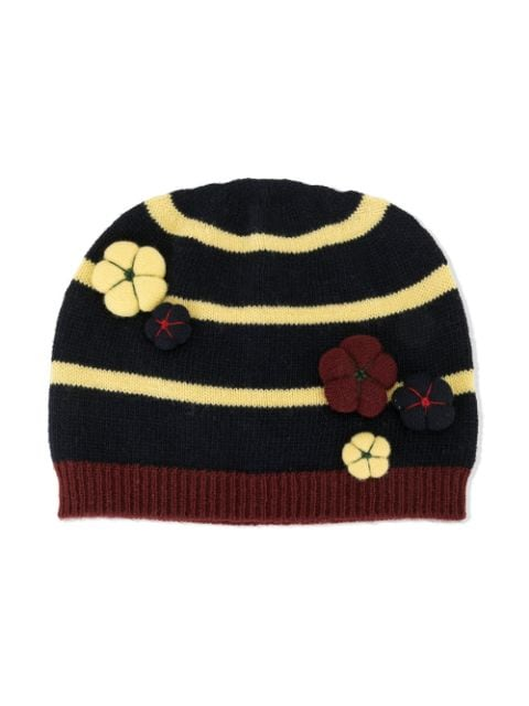 Il Gufo striped knit har with flower detail