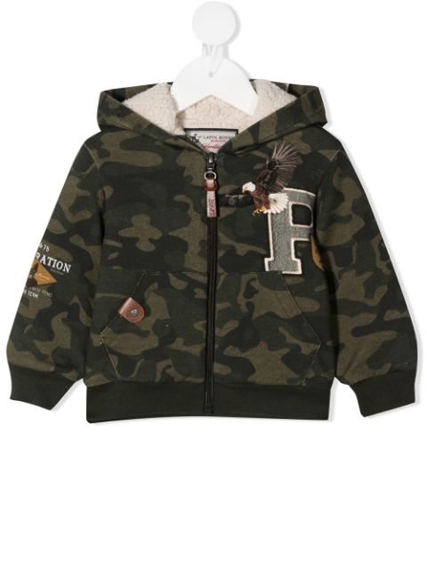 Lapin House camouflage print hooded bomber jacket