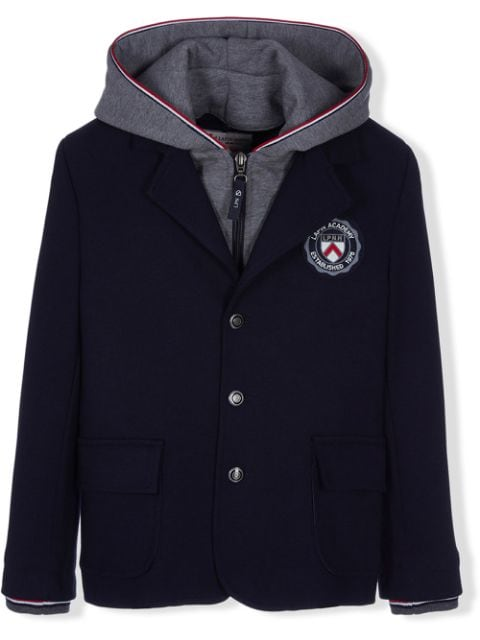 Lapin House logo patch hooded blazer