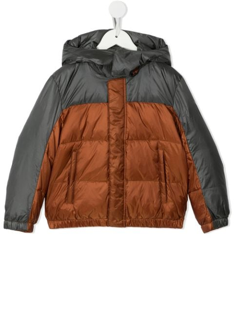 Emporio Armani Kids two-tone padded hooded coat