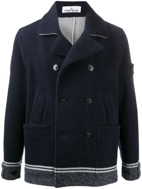 Stone Island double breasted coat with striped hem