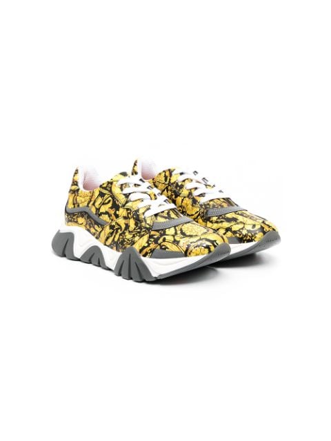 Young Versace TEEN printed lace-up trainers