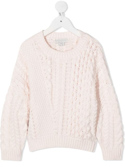 Stella McCartney Kids relaxed-fit cable-knit jumper