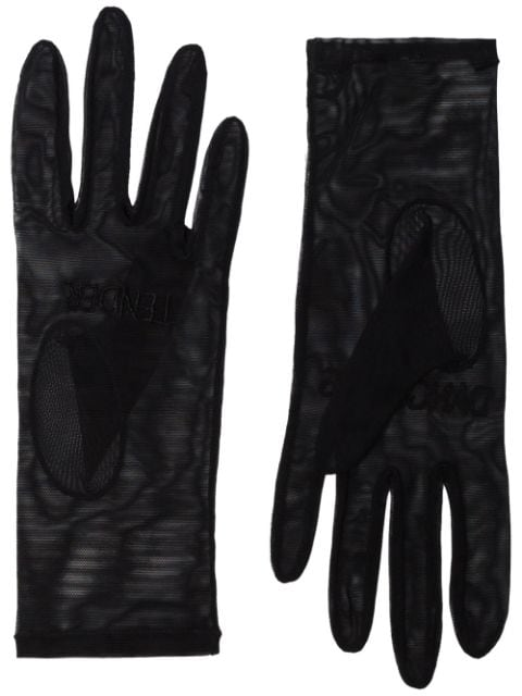 Tender and Dangerous logo-embroidered tulle gloves