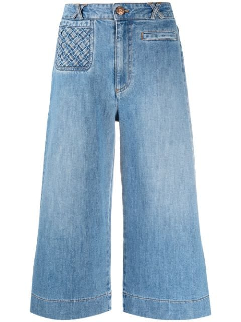 See by Chloé lattice-pocket wide-leg cropped jeans