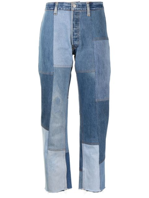 RE/DONE patchwork cropped jeans
