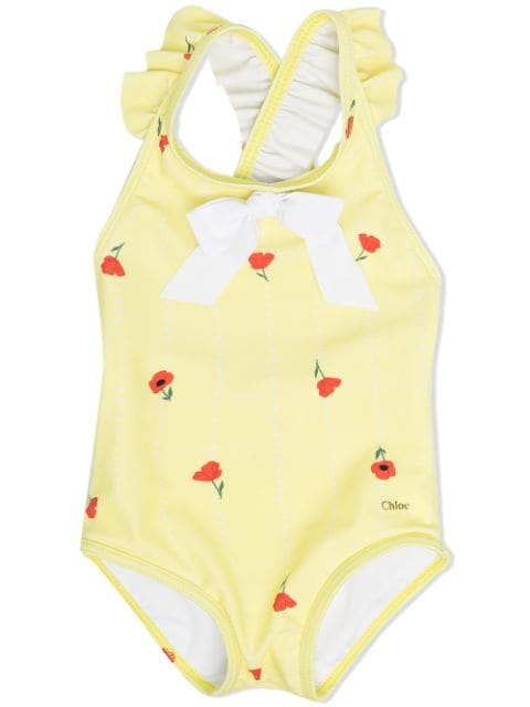 Chloé Kids ruffle-detailed floral-print swimsuit