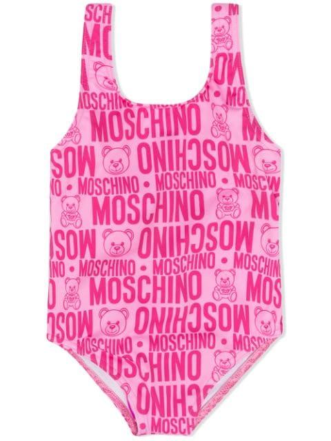 Moschino Kids all over logo print swimsuit