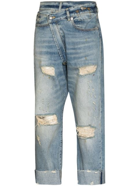 R13 Crossover distressed-finish jeans