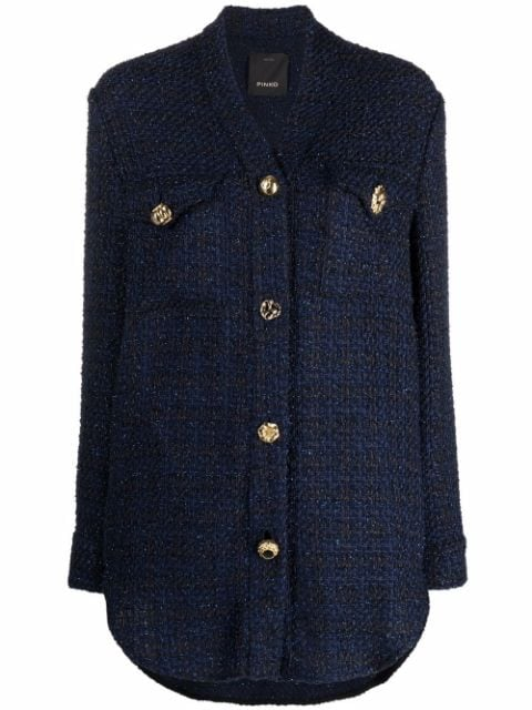Pinko hopsack weave button-up jacket