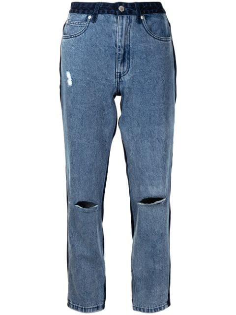 izzue two-tone cropped jeans