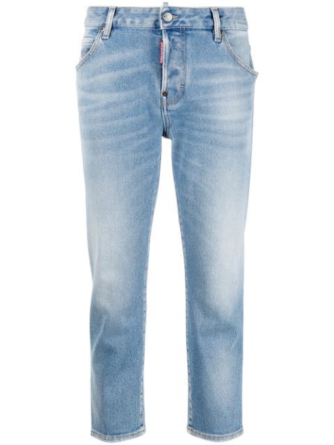 Dsquared2 cropped logo-patch denim jeans