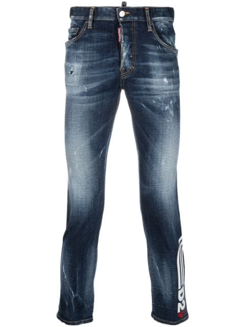 Dsquared2 logo-print cropped jeans