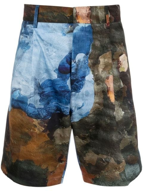 Costumein abstract print knee-length shorts