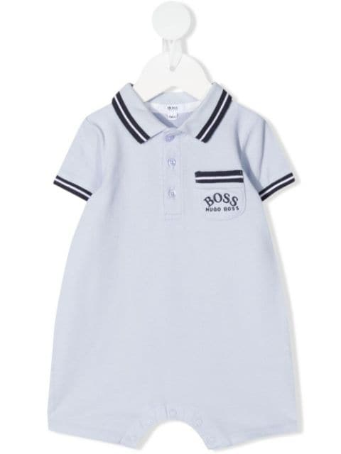 Boss Kids logo-embroidered striped shorties