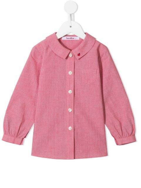 Familiar embroidered houndstooth-print shirt