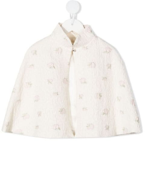 Bonpoint rose-embroidered cape