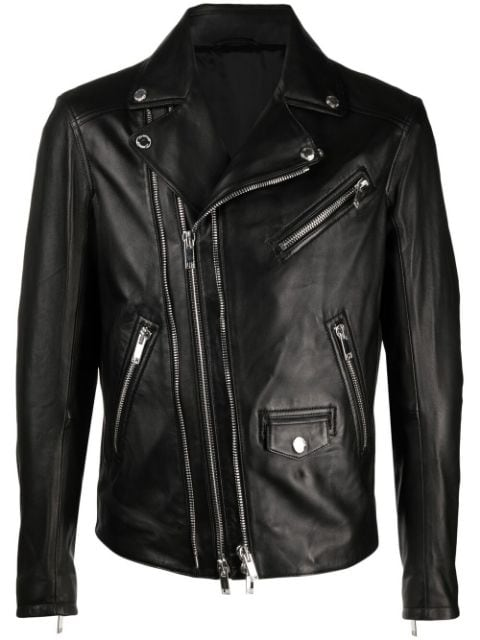 Les Hommes notched-collar leather jacket