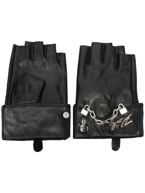 Karl Lagerfeld chain-detail leather gloves