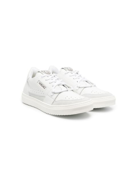 Young Versace logo-print lace-up sneakers