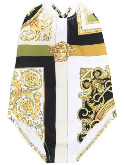 Young Versace Barocco Mosaic-print swimsuit